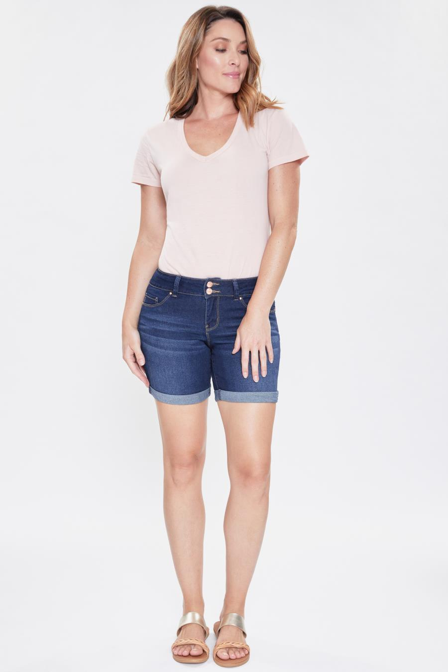Women 2 Button Mid-Rise Basic Cuffed Shorts