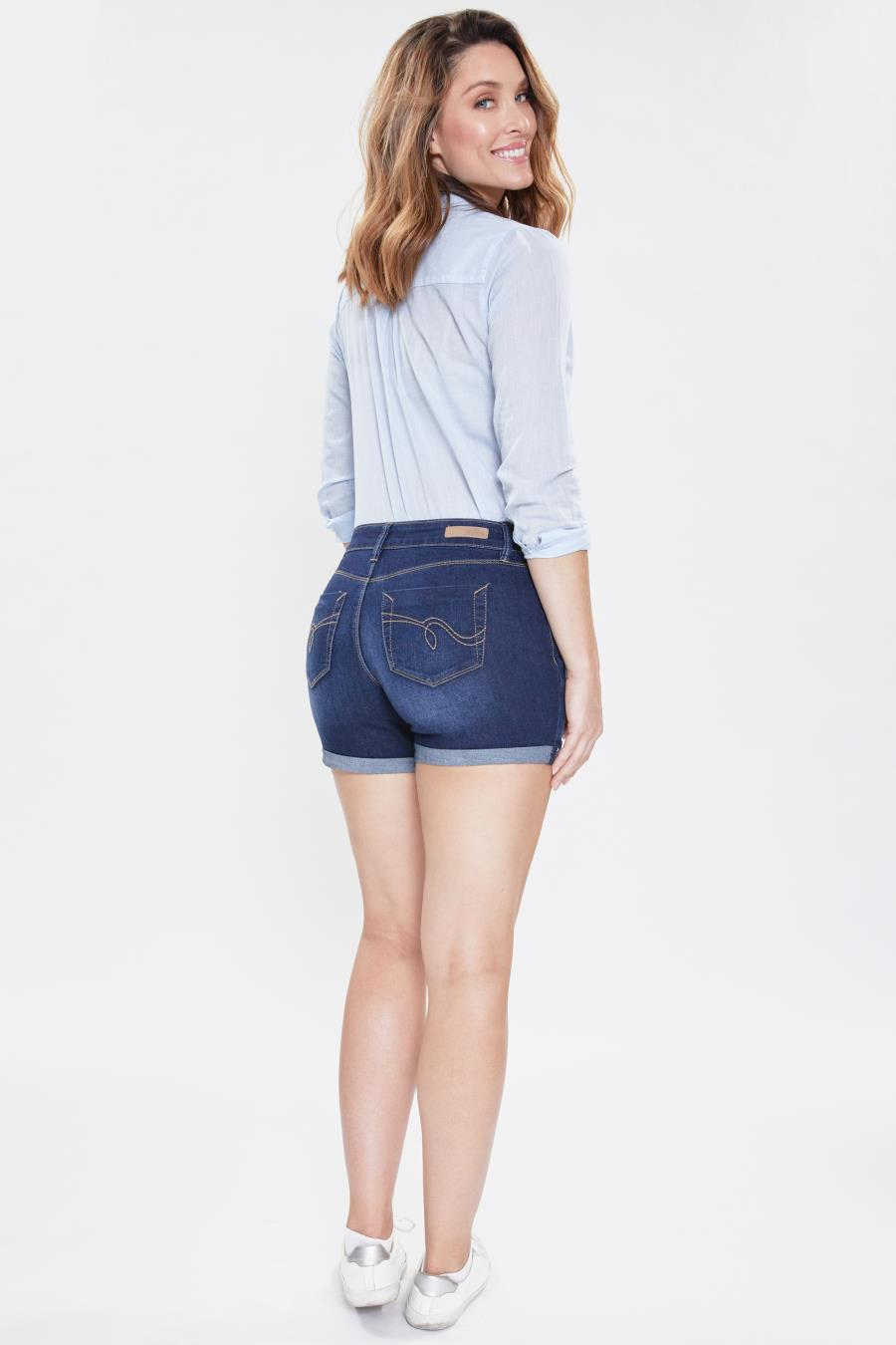 Women Mid-Rise Tummy Control Double Rolled Cuff Short