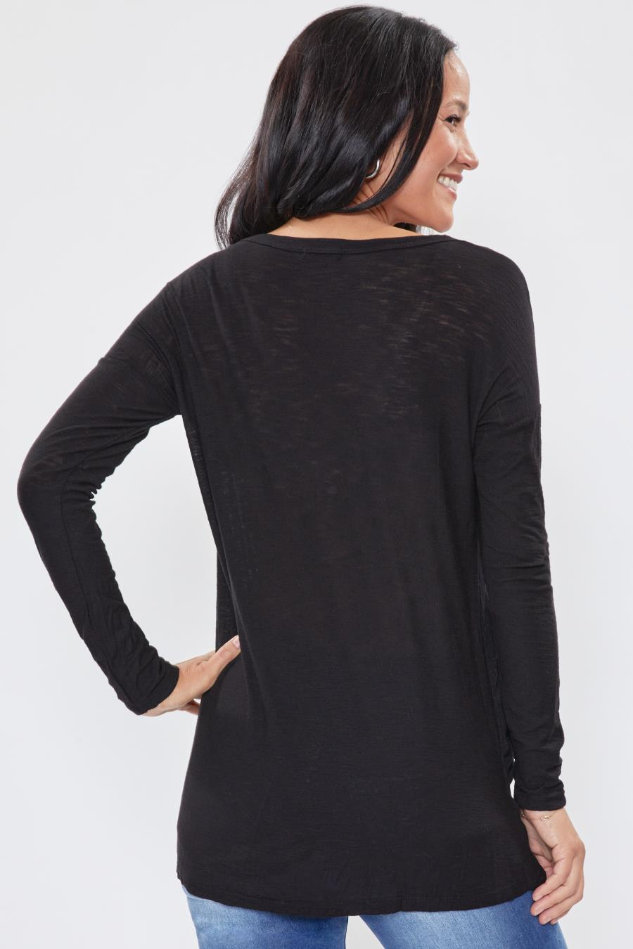 Women Long Sleeve Tee With Ribbed Side Inserts