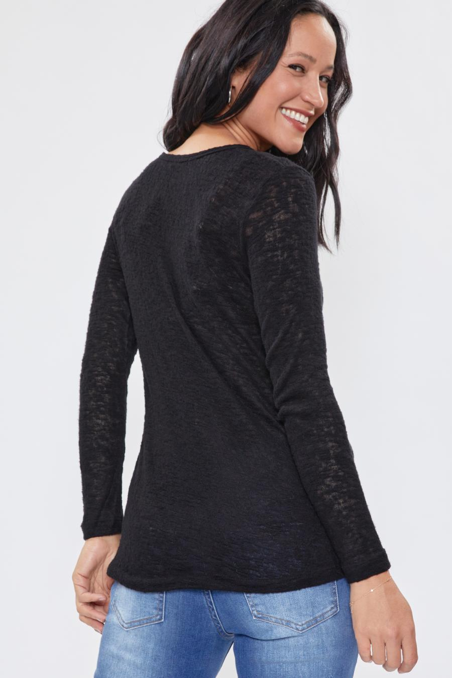 Women Textured Long Sleeve Top With Front Pocket