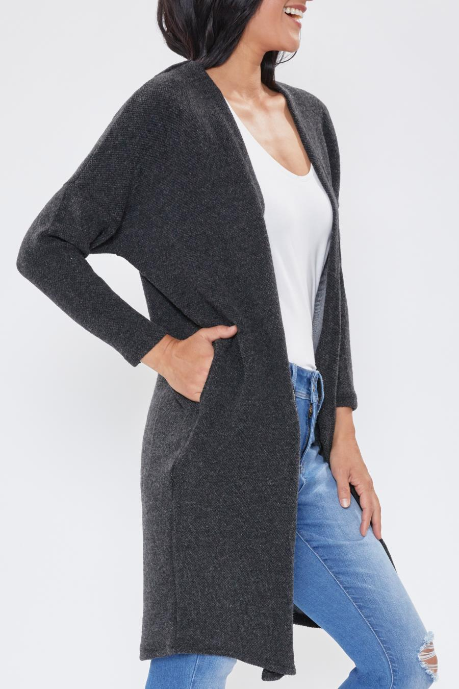 Women Textured Duster With Side Pockets