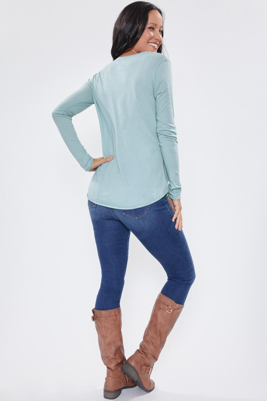 Women Long Sleeve Tee With Scoop Neck