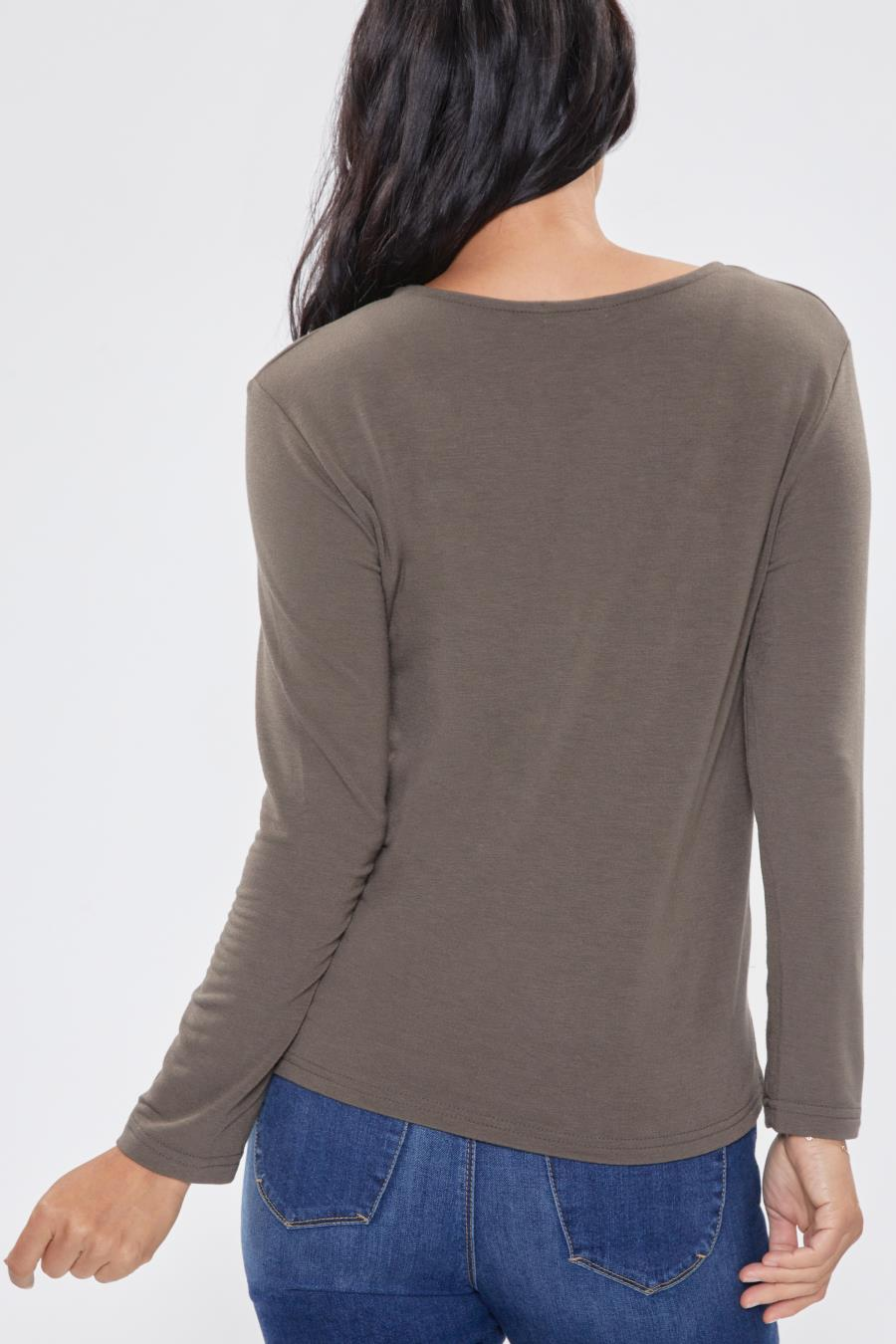 Women Long Sleeve Tee With High-Low Hem