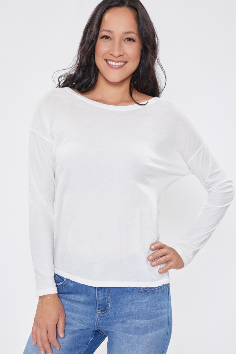 Women Long Sleeve Scoop Neck Top With Twisted Knot Back Detail