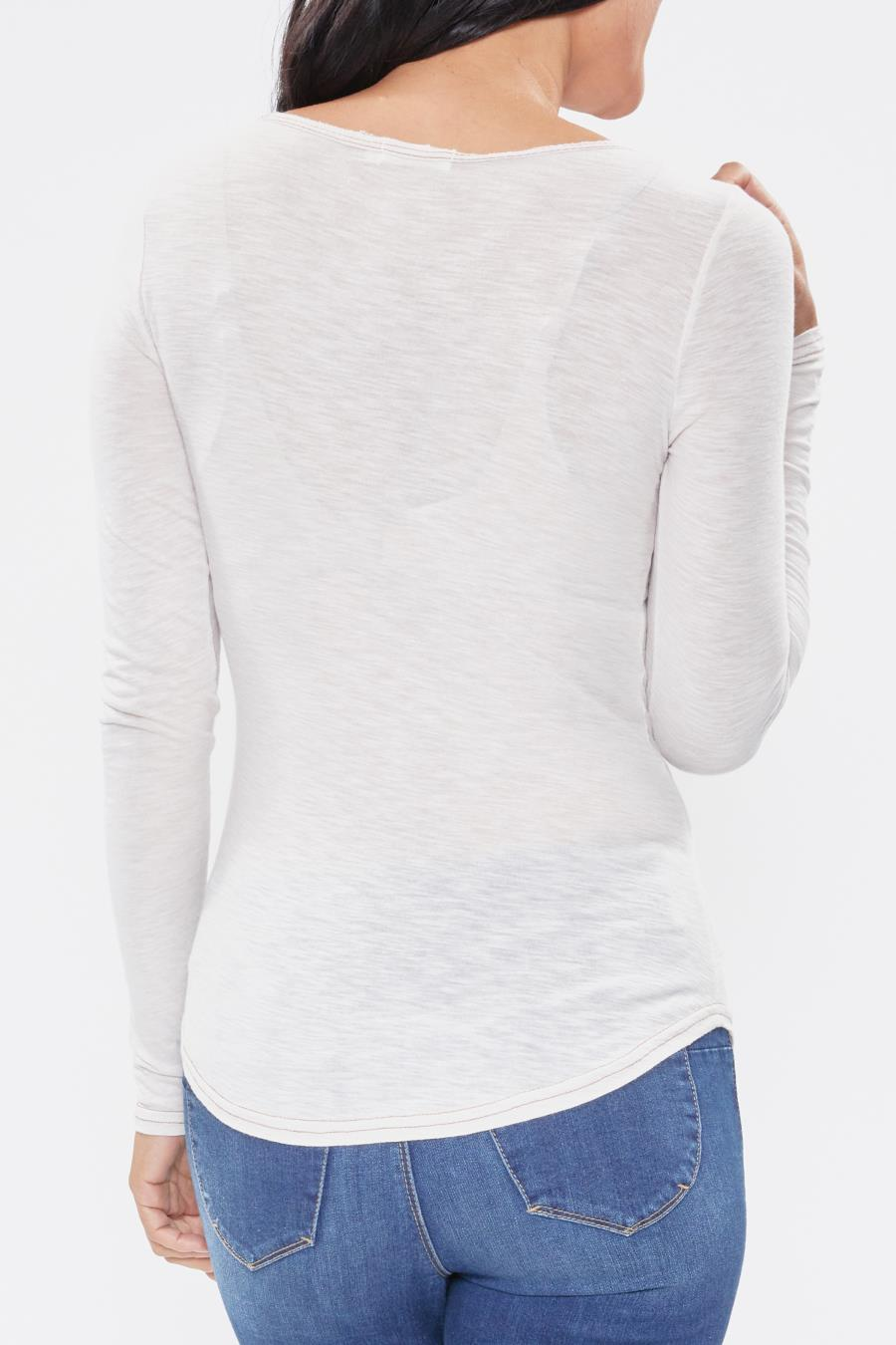 Women Long Sleeve Tee With Contrast Stitching