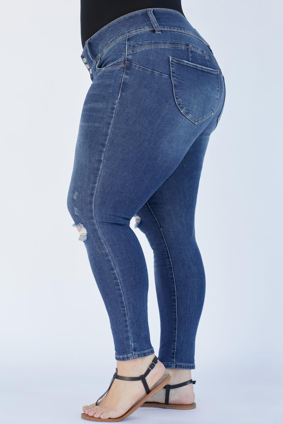Women Plus Size WannaBettaButt 3 Button Skinny Jean Made With Recycled Fibers