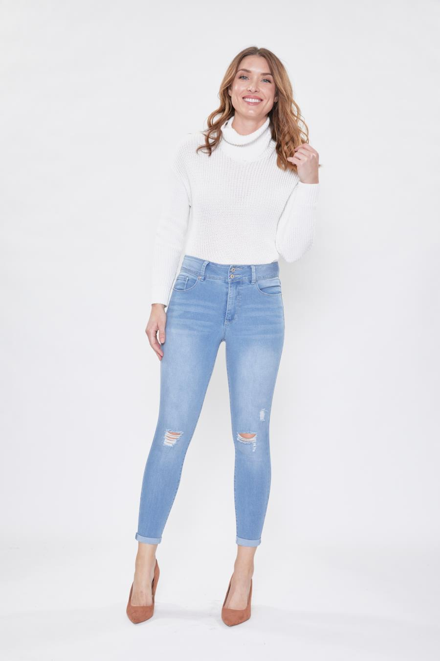 Women Hide Your Muffin Top 2 Button Rolled Cuff Jean