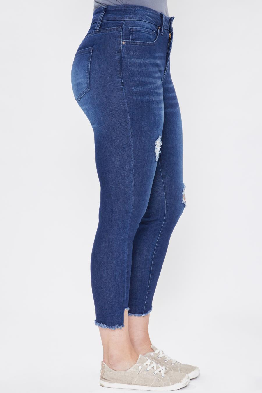 Women Curvy Fit High-Rise Frayed Slanted Ankle Jean Made From Recycled Fibers