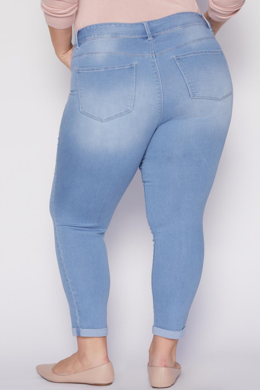 Women Plus Size Hide Your Muffin Top Rolled Cuff Ankle Jeans