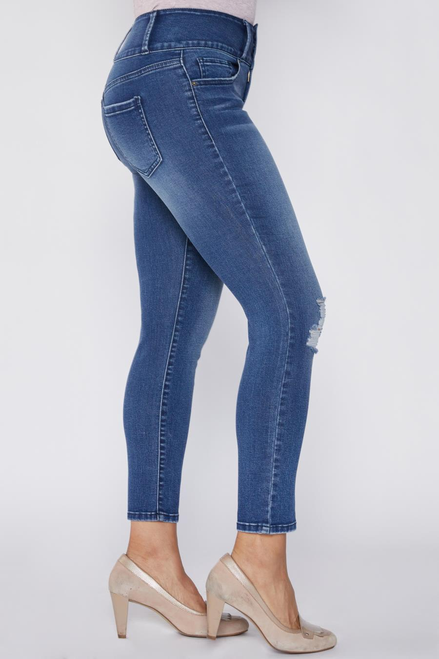 Women Petite High-Rise Skinny Jean With Rip Detail