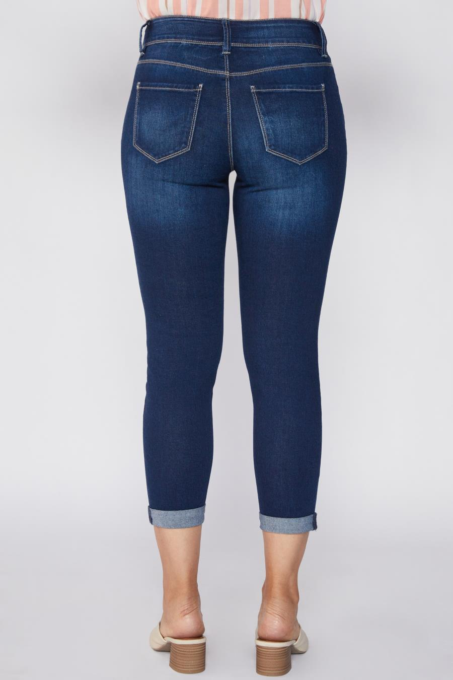 Women Petite Hide Your Muffin Top 2 Button Ankle Jean With Rolled Cuff