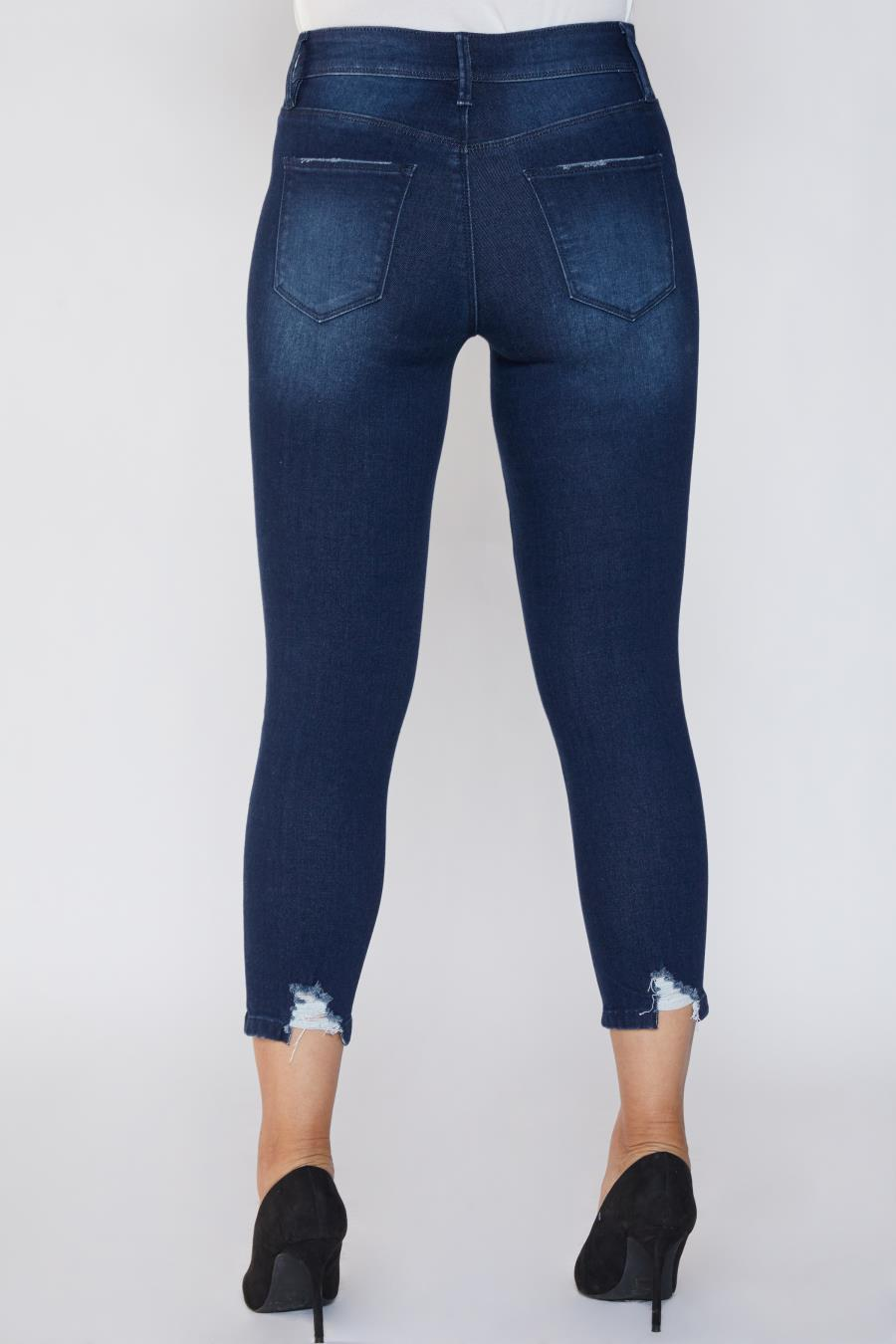 Women Petite Hide Your Muffin Top Ankle Jean With Fashion Detail