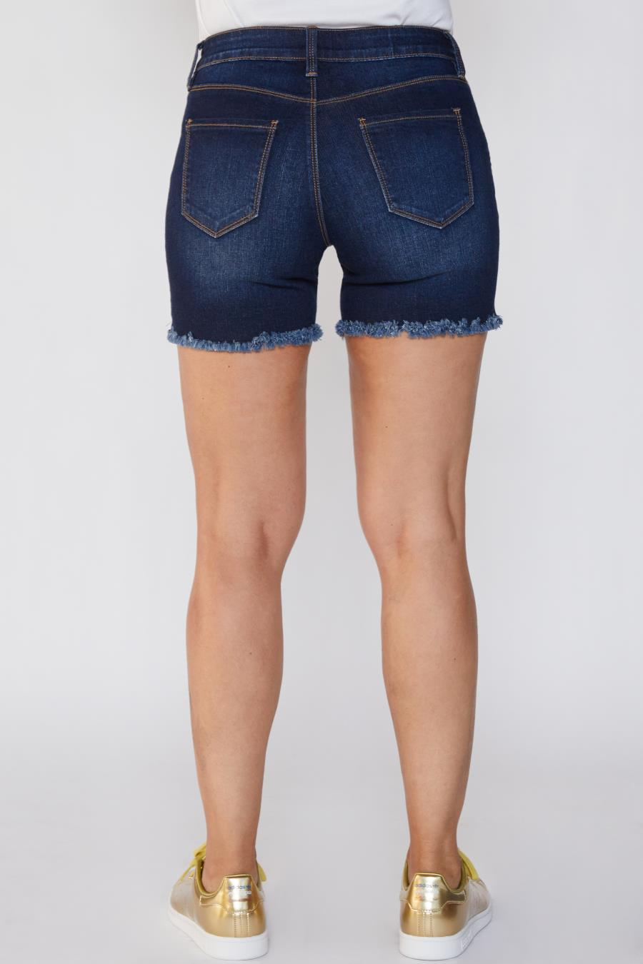 Women Petite Hide Your Muffin Top Exposed Button Bermuda Shorts With Frayed Hem