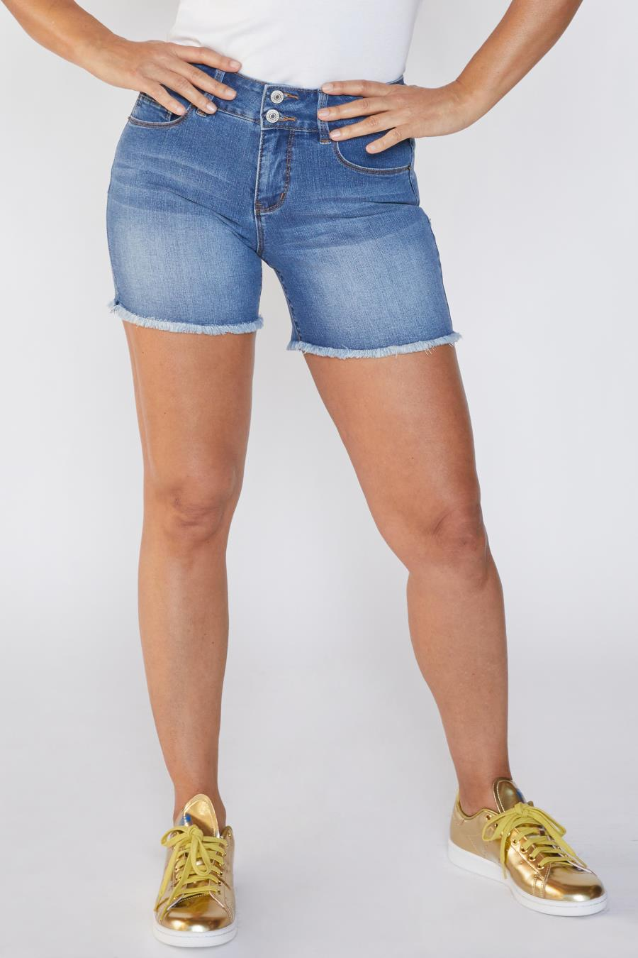 Women Petite Hide Your Muffin Top 2 Button Bermuda Shorts With Frayed Hem