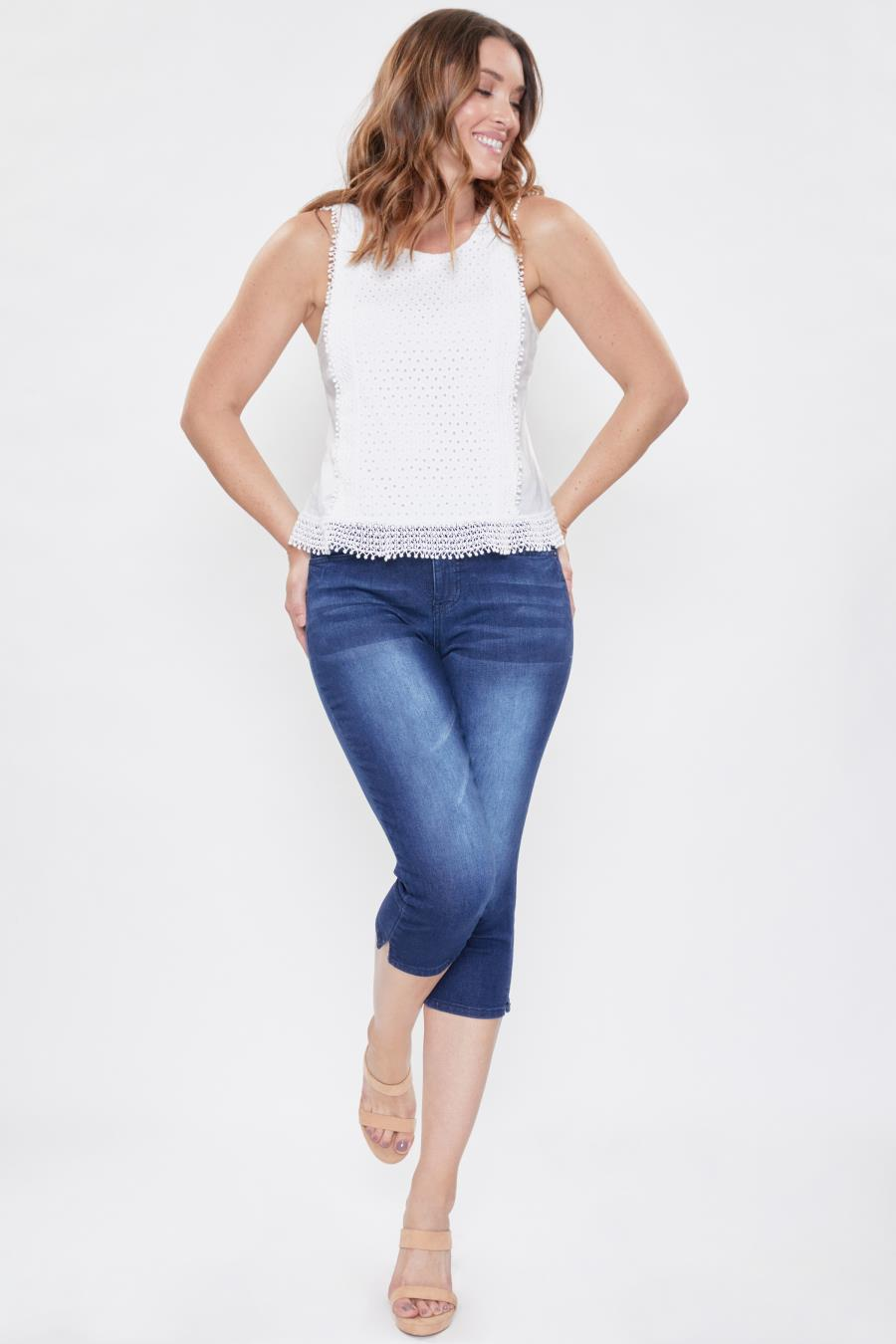Women Curvy Fit High-Rise Side Slit Capri Jean Made With Recycled Fibers