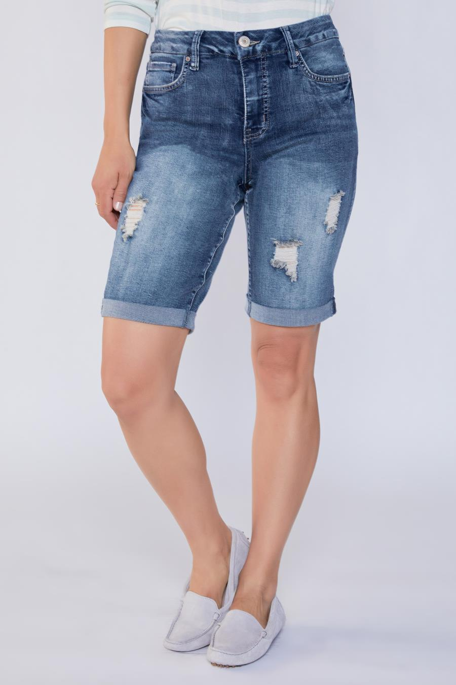 Women Curvy Fit High-Rise Cuffed Bermuda Short