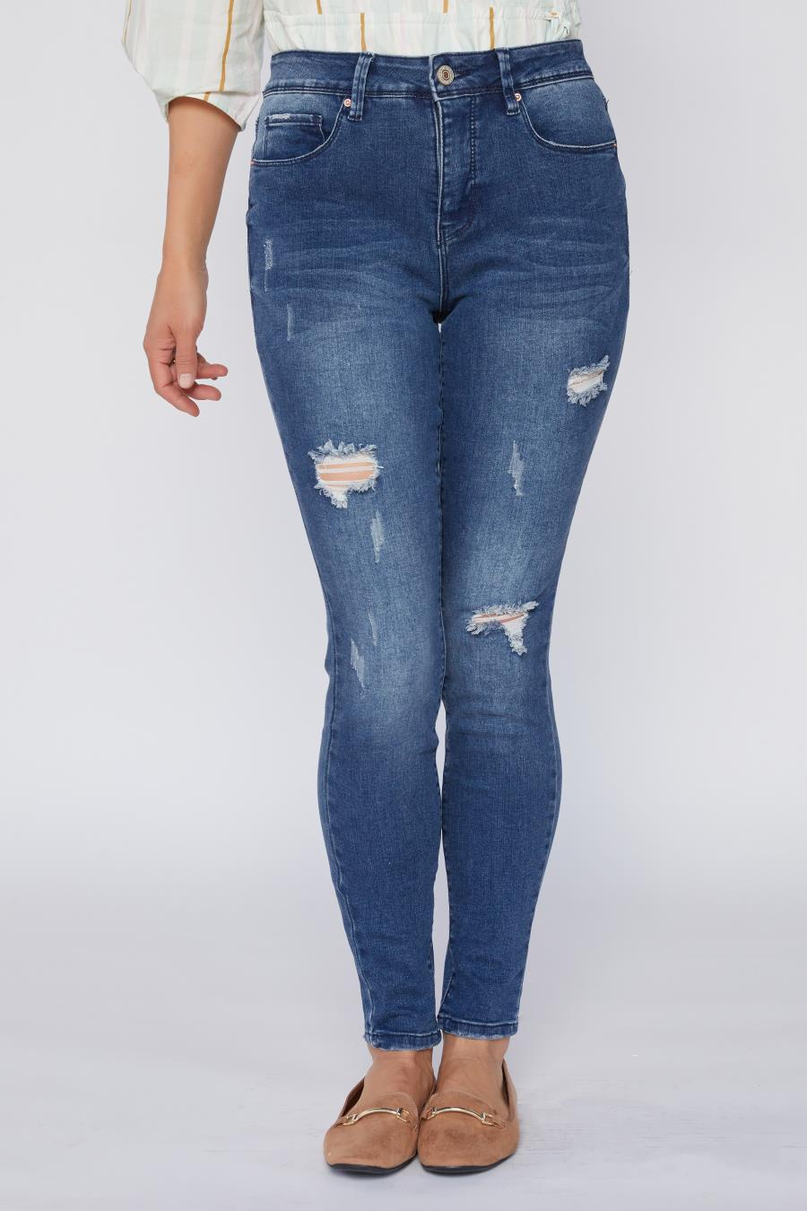 Women Hide Your Muffin Top High-Rise Skinny Jean With Trendy Rips And Tears