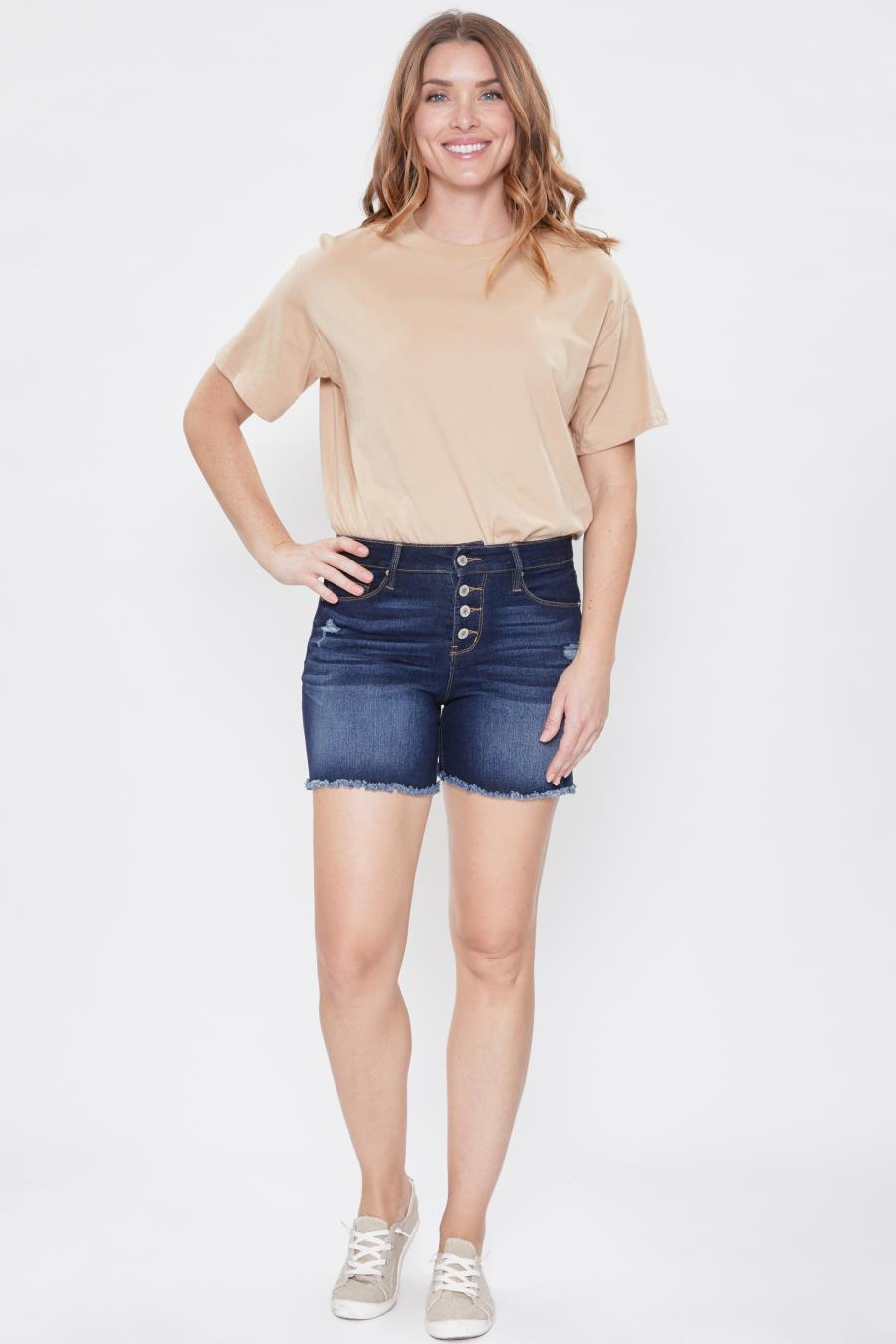 Women Hide Your Muffin Top Exposed Button Frayed Hem Shorts