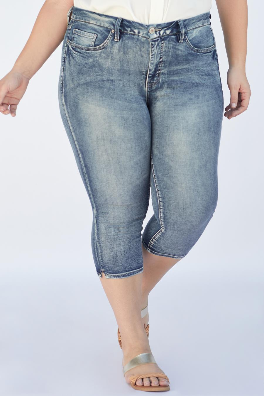 Women Plus Size Curvy Fit High-Rise Capri Shorts With Side Slits