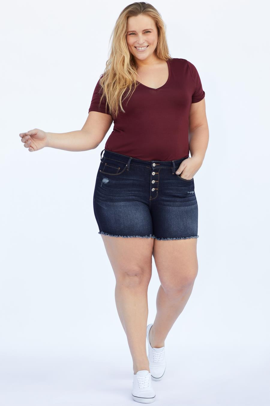 Women Plus Size Hide Your Muffin Top Exposed Button Frayed Hem Shorts