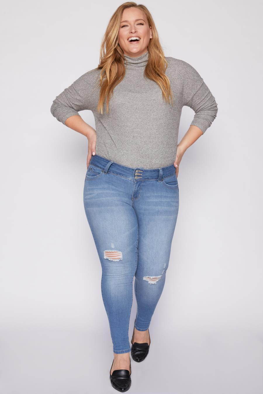 Women Plus Size WannaBettaButt 3 Button Mid-Rise High-Rise Skinny Jean