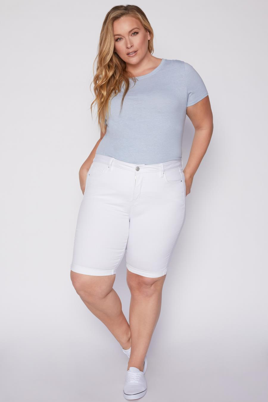 Women Plus Size Curvy Fit High-Rise Cuffed Bermuda Shorts