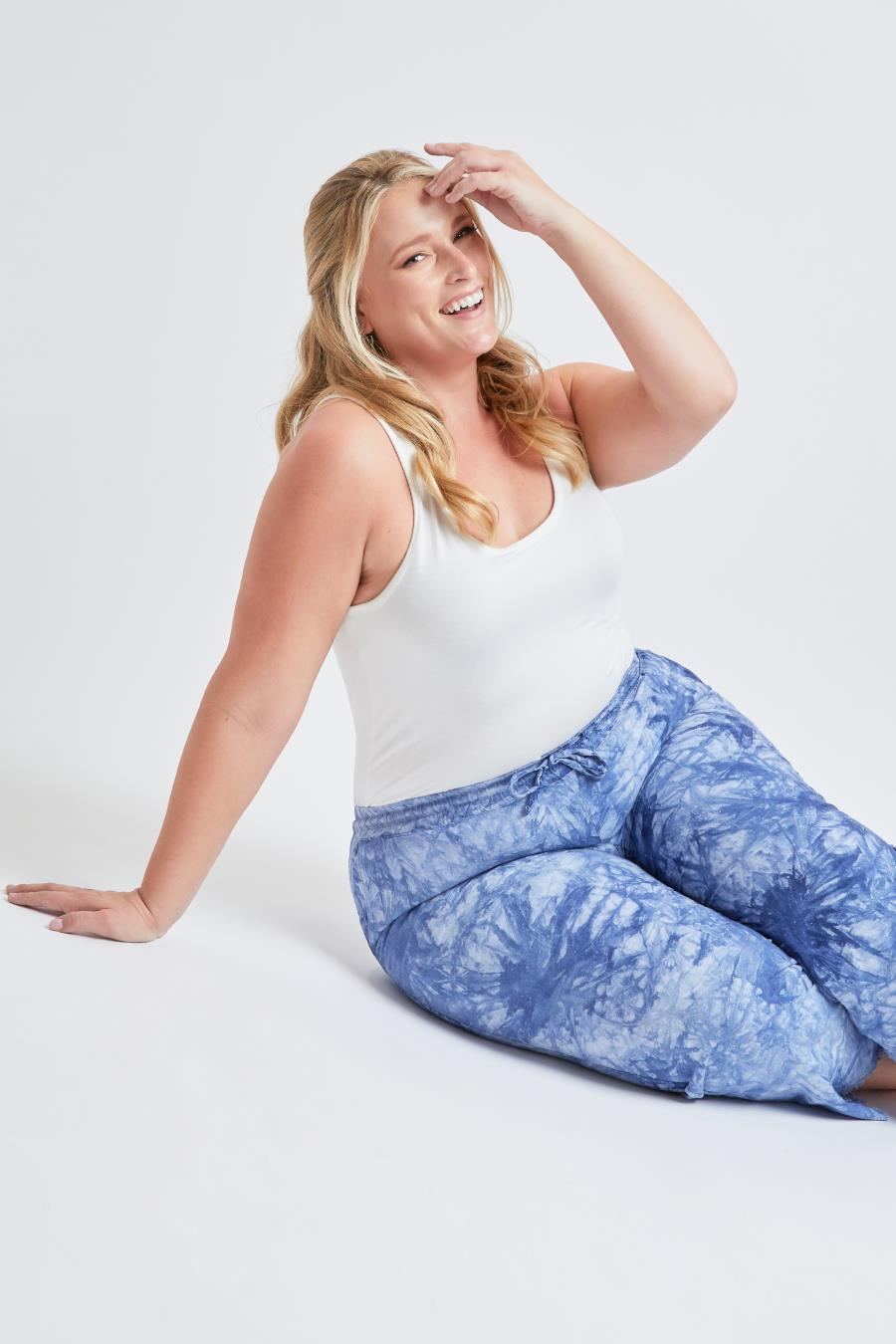 Women Plus Size Linen Lounge Pants With Frayed Hem