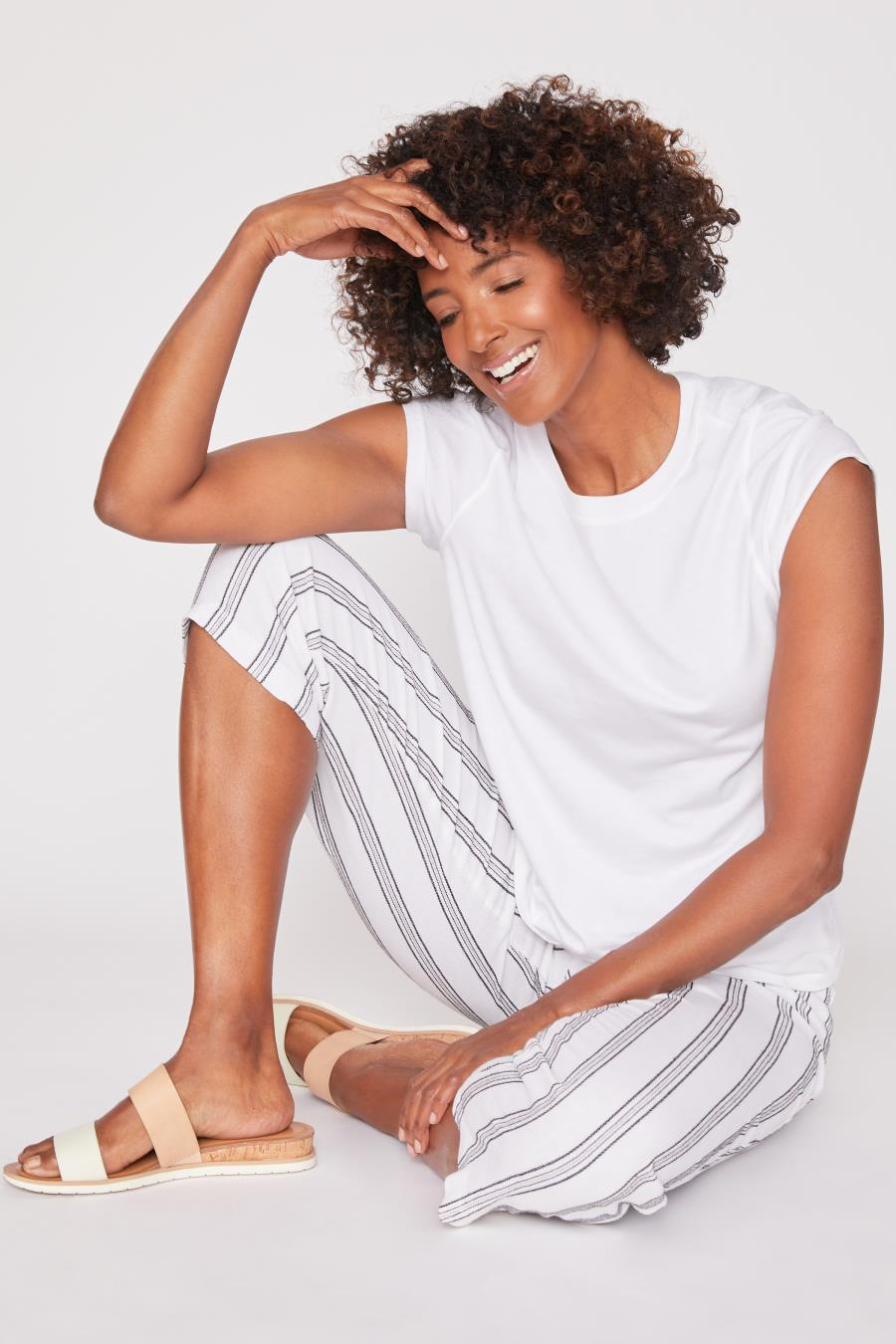 Women Linen Lounge Pants with Elastic Waistband