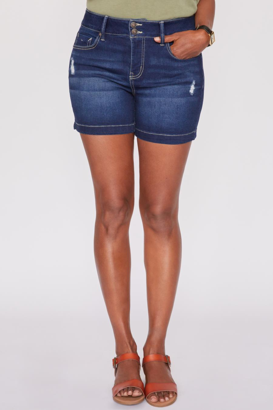 Women 2 Button High-Rise Shorts With Side Slit