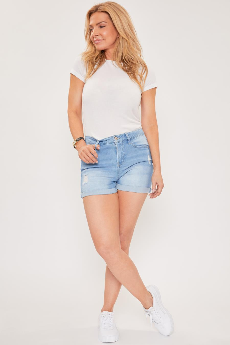Womens Petite 1 Button Double Cuff Untacked Shorts