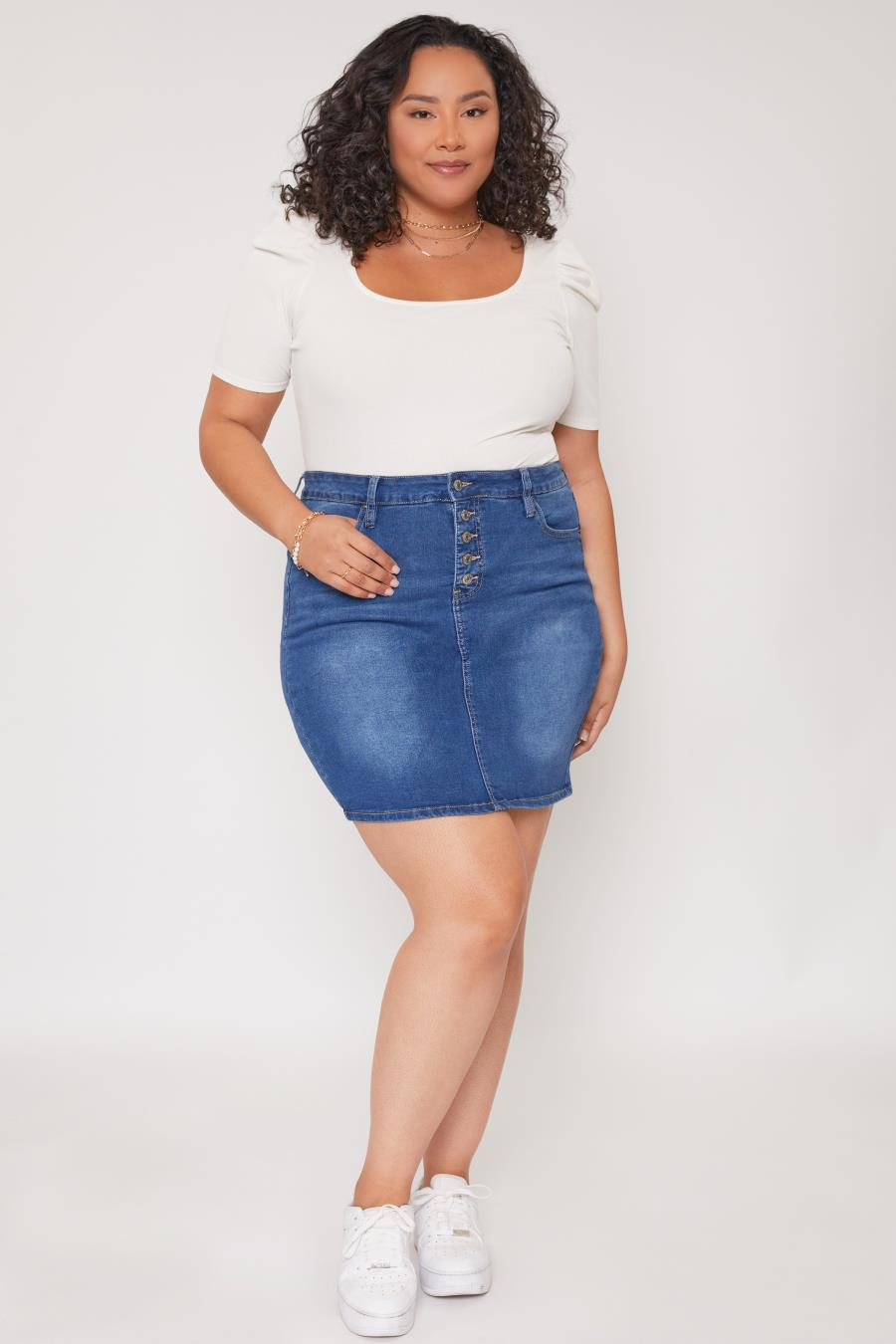 Women Plus Size Exposed Button Skirt