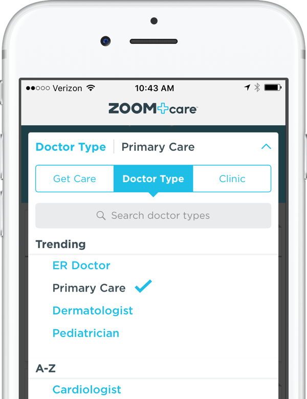 Find a ZOOM+Care Doctor for your urgent, primary and specialist care needs.
