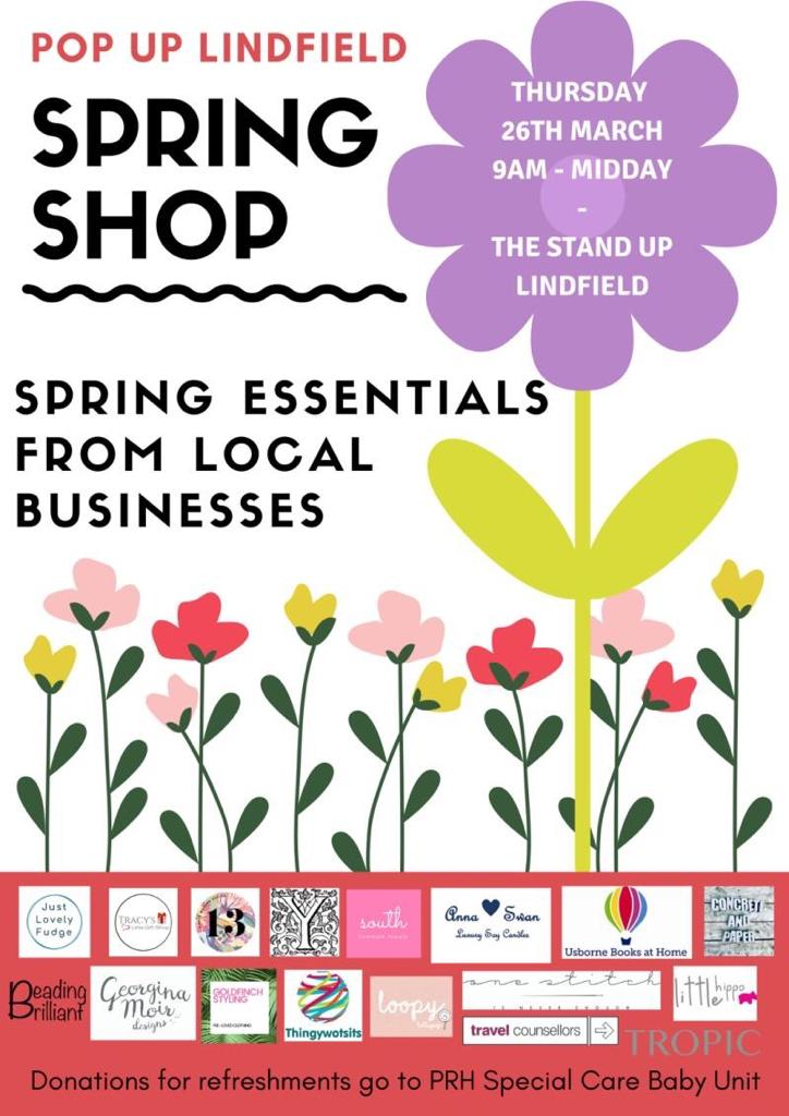 Postponed/Cancelled due to Coronavirus Pandemic – Pop Up Spring Shop – Lindfield Thursday 26th March 2020 – helping to raise funds for The EBA